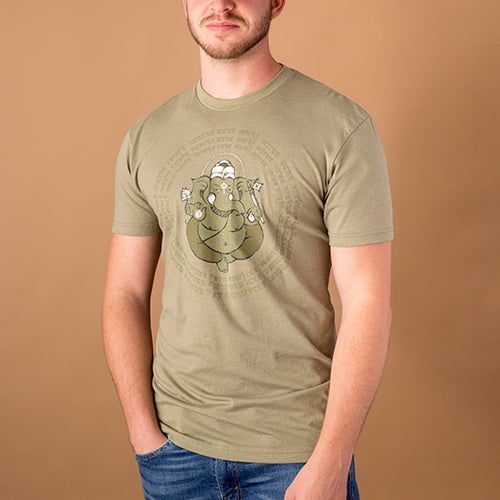 young white male wearing olive green t-shirt with image of ganesha and tantric mantra encircling it