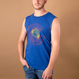 young white male wearing royal blue cut off t shirt with colorado 'c' in red and yellow created with a wireframe like design