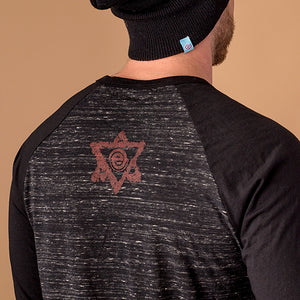 back of 3/4 sleeve tee with 6 pointed star and empty logo