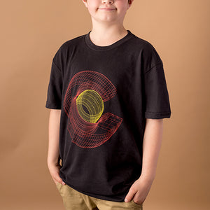 youth male wearing black t-shirt with colorado 'c' in red and yellow in a wireframe style printed on front