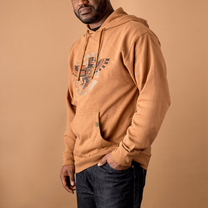 african american male wearing saddle tan hoodie with northwestern indian style eagle printed in black and red