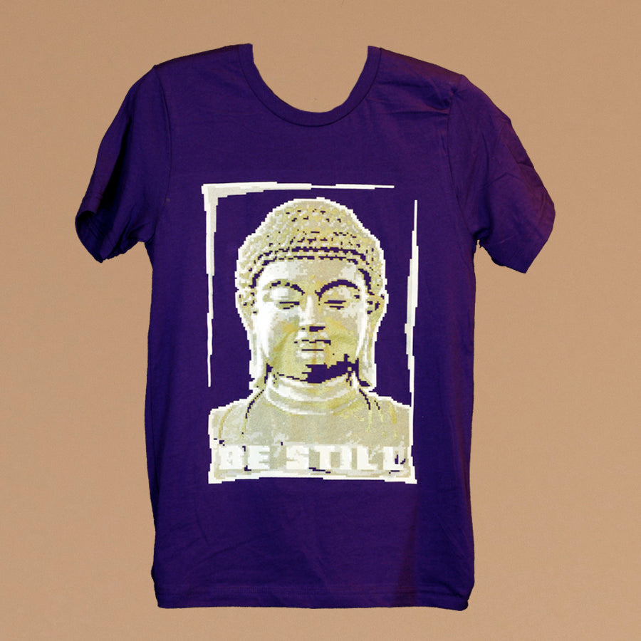 purple tee shirt with screen printed image of a golden buddha bust in a pixelated style