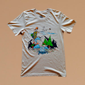 tan t-shirt with cartoon drawing of guy camping in the mountains swatting flies
