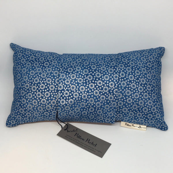 Blue with Silver Flowers -  Pillow Pocket for your Intentions