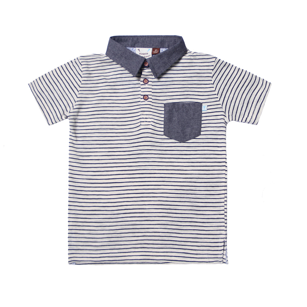 Navy Stripe Knit Polo