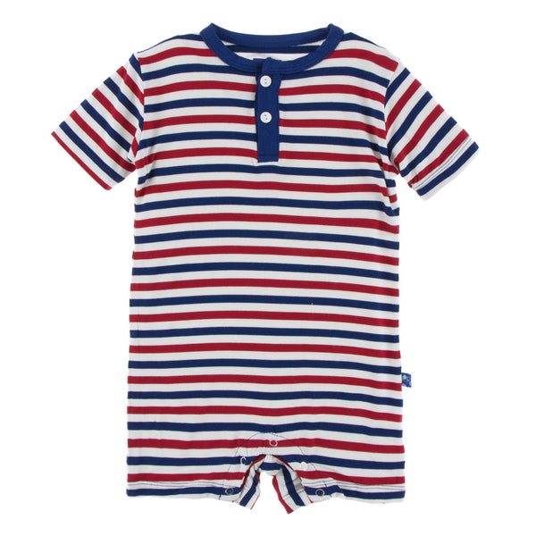 Kickee Pants Short Sleeve Henley Romper USA Stripe