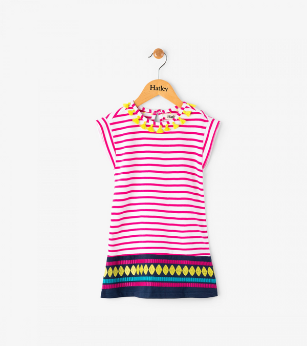 Tassels and Fuchsia Stripe Lightweight Sleeveless Dress