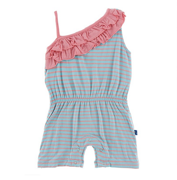 Diagonal Ruffle Romper Strawberry Stripe