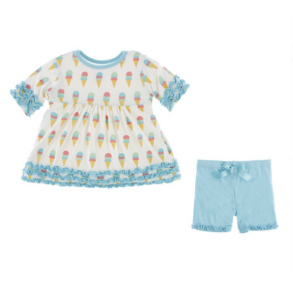 Kickee Pants Babydoll Outfit Set Ice Cream