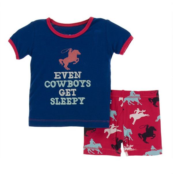 Kickee Pants Pajama Set Red Cowboy