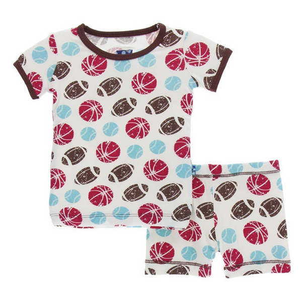 Kickee Pants Pajama Set Natural Sports