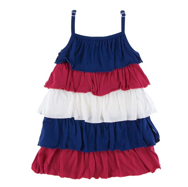 Kickee Pants Tiered Ruffle Dress Red, White and Blue