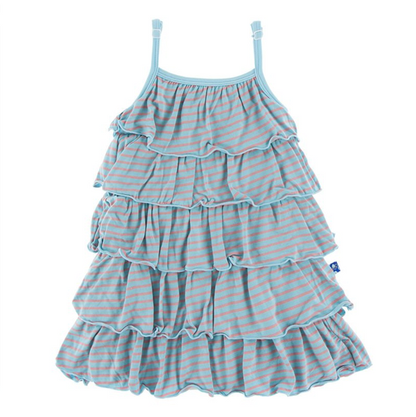 Kickee Pants Tiered Ruffle Dress Strawberry Stripe