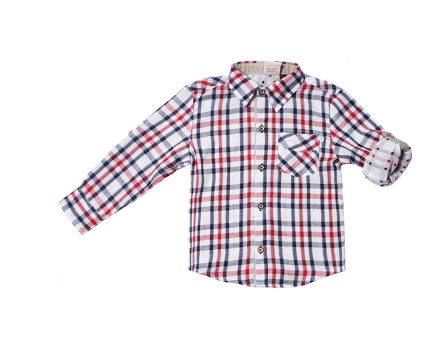 L/S Navy and Red Plaid Roll Shirt