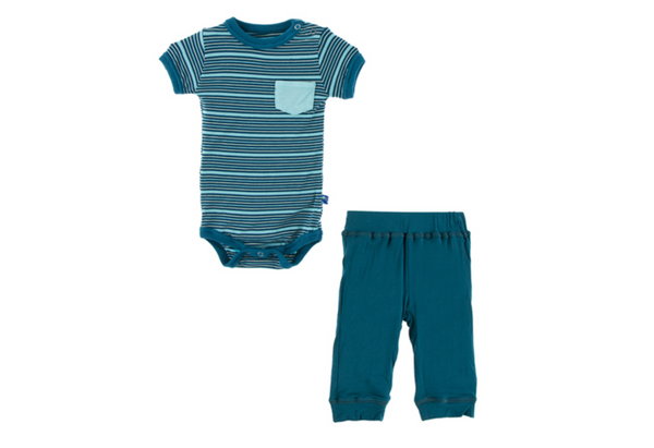 Kickee Pants Pant Set Shining Sea Stripe