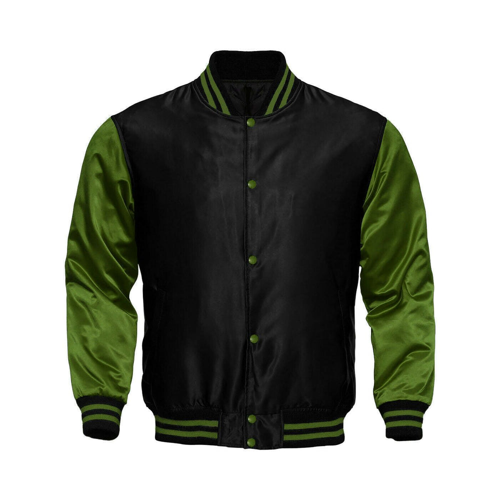 Baseball Letterman College Black/Green Varsity Satin Jacket