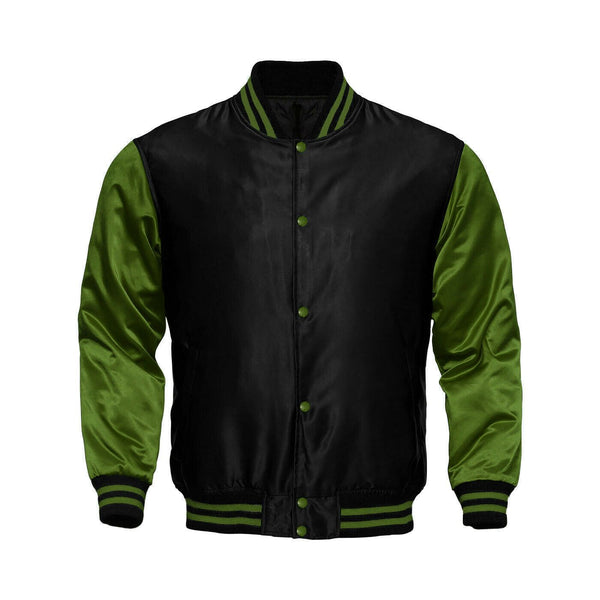 Baseball Letterman College Black/Green Varsity Satin Jacket - Kilt Experts