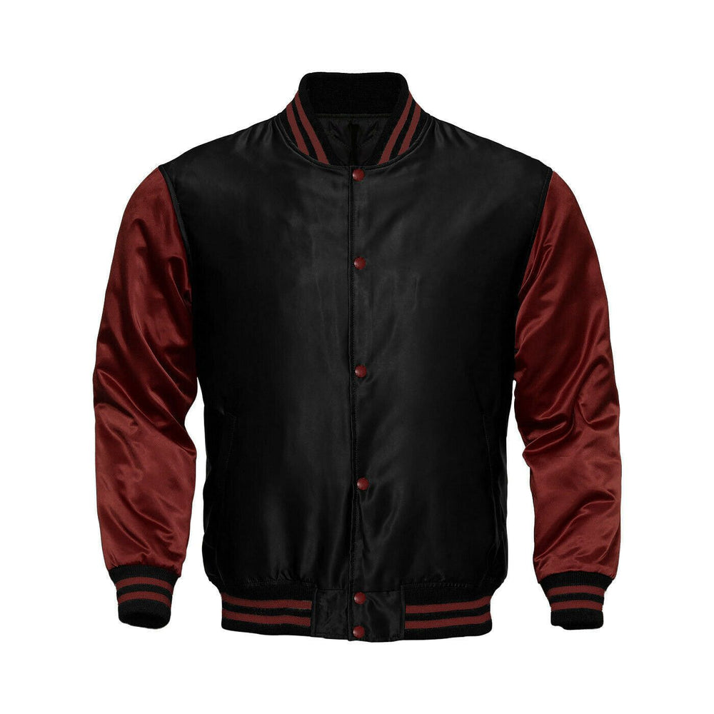 Baseball Letterman College Black/Maroon Blue Varsity Satin Jacket