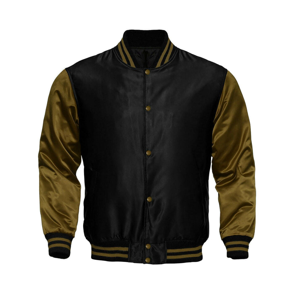 Baseball Letterman College Black/Mehandi Varsity Satin Jacket
