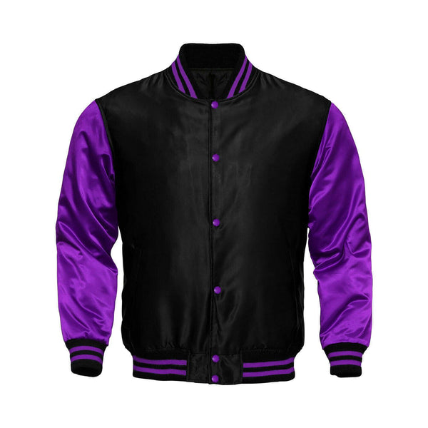 Baseball Letterman College Black/Purple Varsity Satin Jacket - Kilt Experts