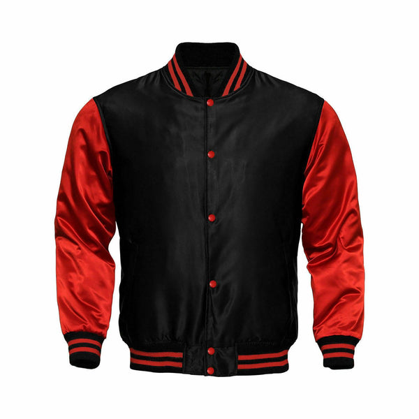 Baseball Letterman College Black/Red Varsity Satin Jacket - Kilt Experts