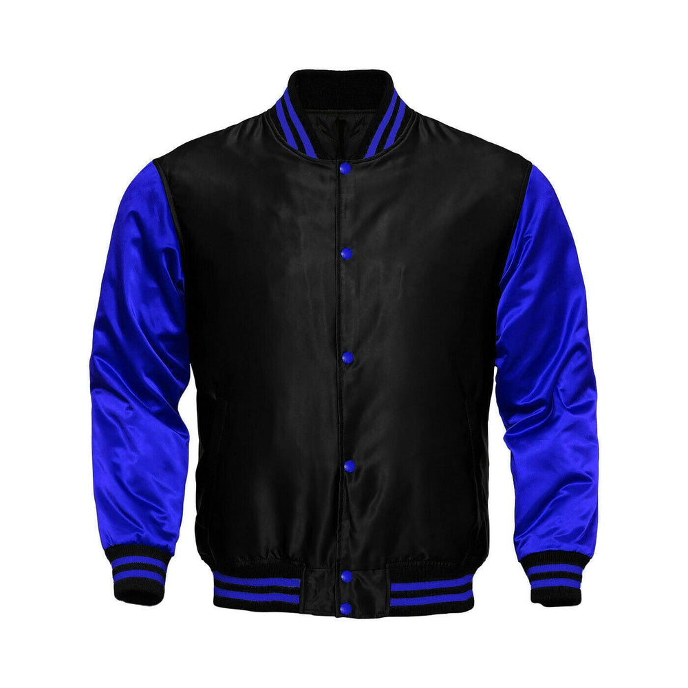 Baseball Letterman College Black/Royal Blue Varsity Satin Jacket