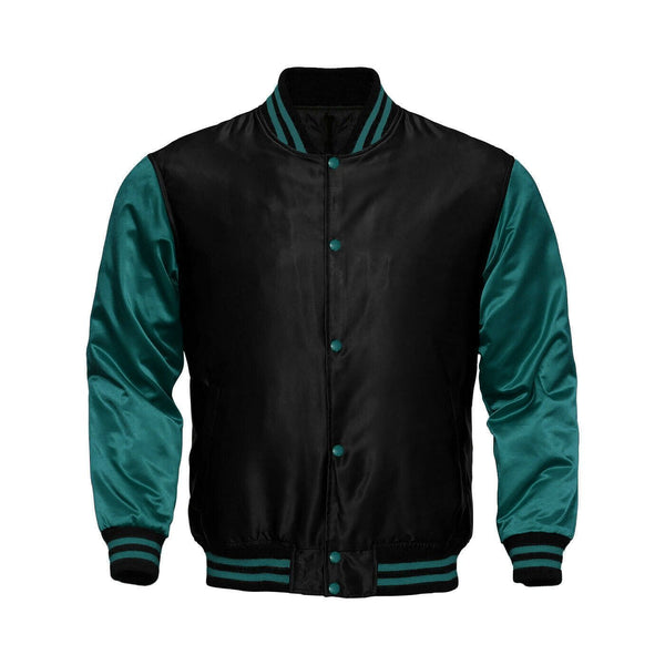 Baseball Letterman College Black/Sea Grean Varsity Satin Jacket - Kilt Experts