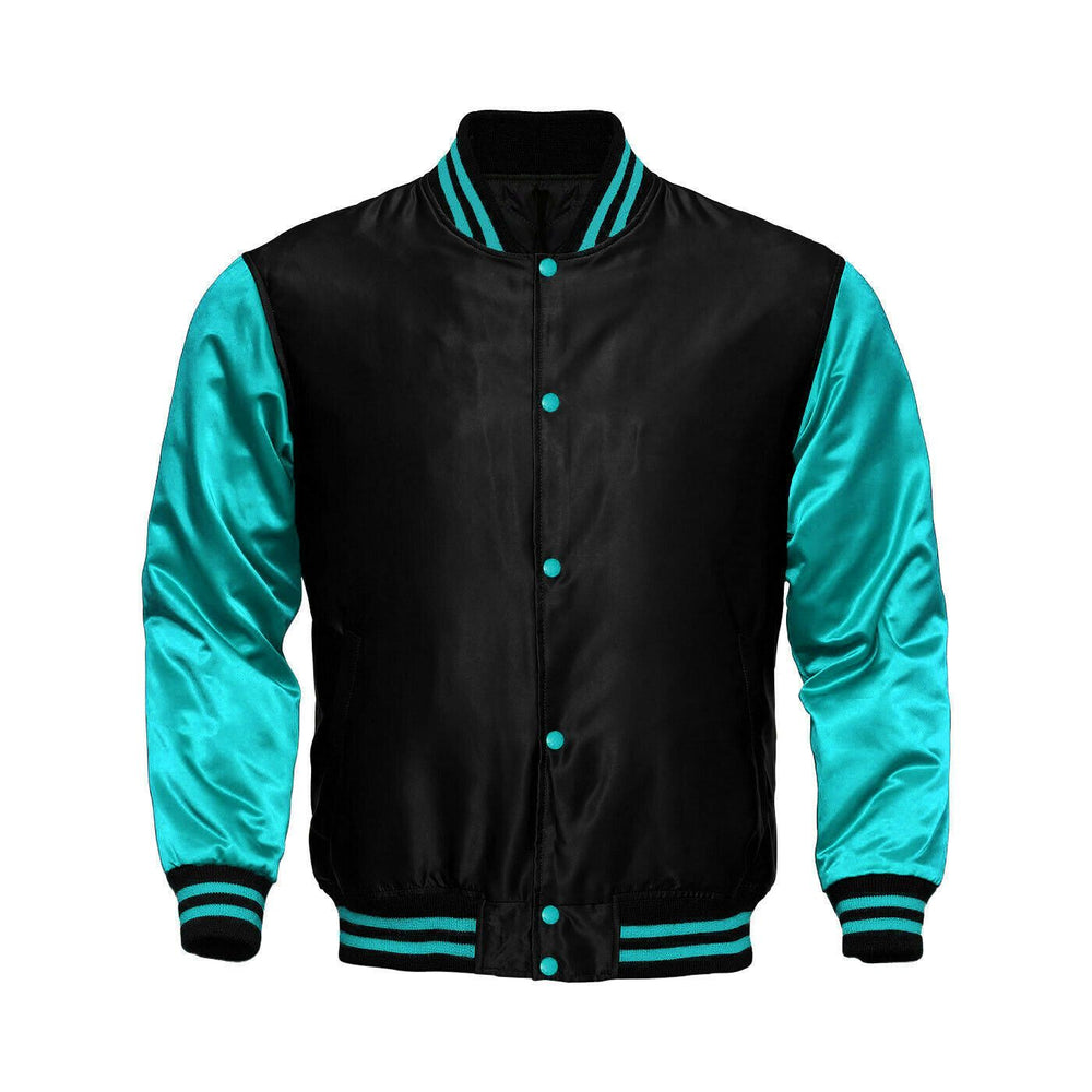 Baseball Letterman College Black/Turquoise Varsity Satin Jacket