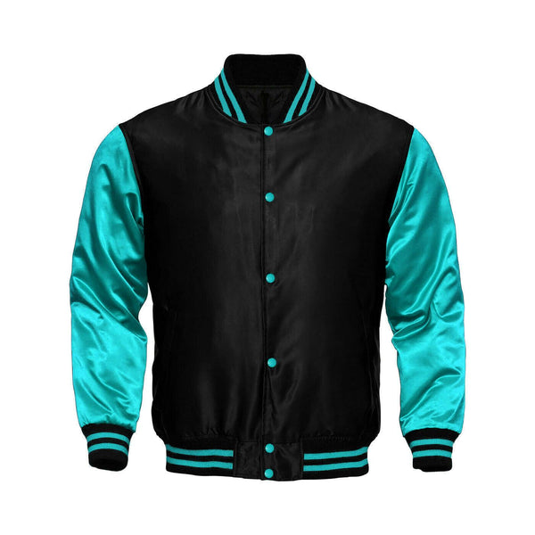 Baseball Letterman College Black/Turquoise Varsity Satin Jacket - Kilt Experts