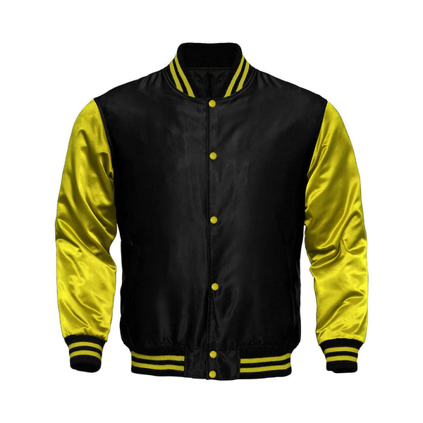 Baseball Letterman College Black/Yellow Varsity Satin Jacket - Kilt Experts