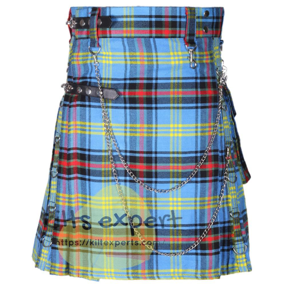 Bell Of Borders Tartan 16OZ Stud Kilt With Detachable Chain & Pockets