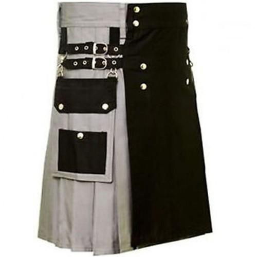 Black And Grey Wedding Fashionable Utility Kilt