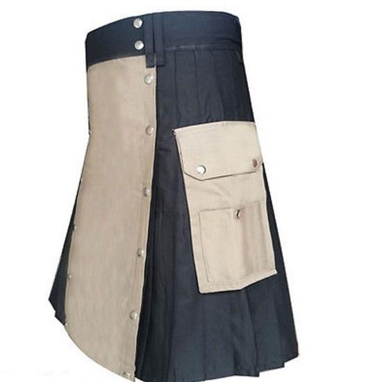 Black And Khaki Casual Party Dress Utility Kilt - Kilt Experts