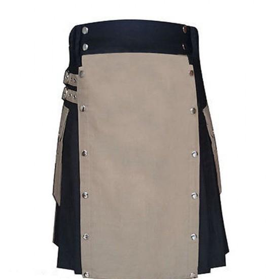 Black And Khaki Casual Party Dress Utility Kilt