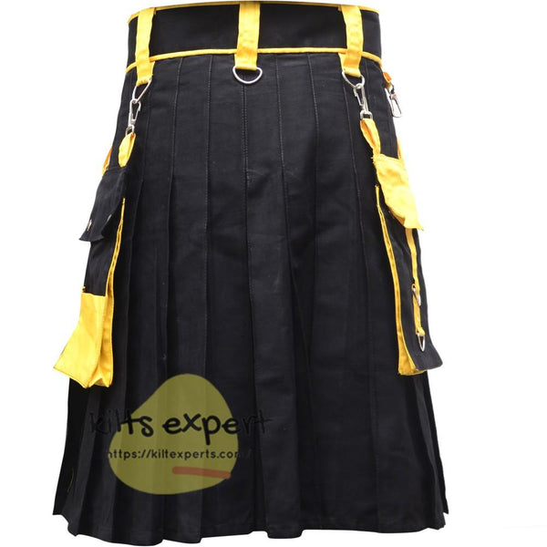 Black And Yellow Two Tone Fashionable Utility Kilt With Chain - Kilt Experts