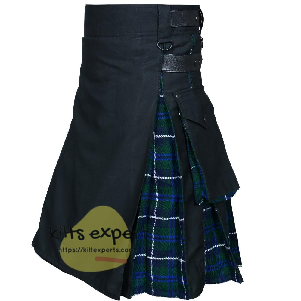 Black & Blue Douglas Two Tone Hybird Kilt