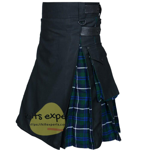 Black & Blue Douglas Two Tone Hybird Kilt - Kilt Experts