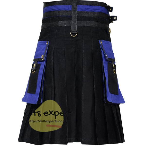 Black & Blue Two Tone Kilt - Kilt Experts