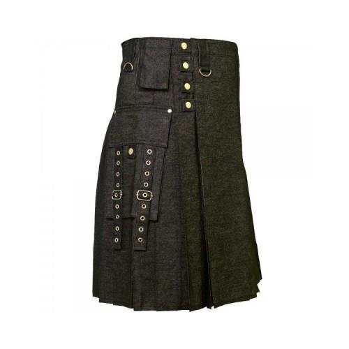 Black Denim Digital Fashion Kilt Kilt Experts