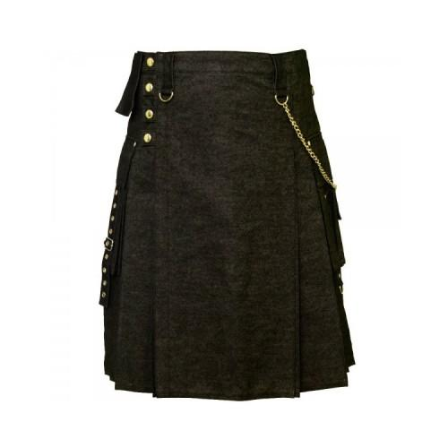 Black Denim Digital Fashion Kilt