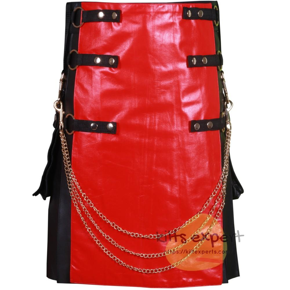Black Fashion Leather Kilt With Red Apron And Chain