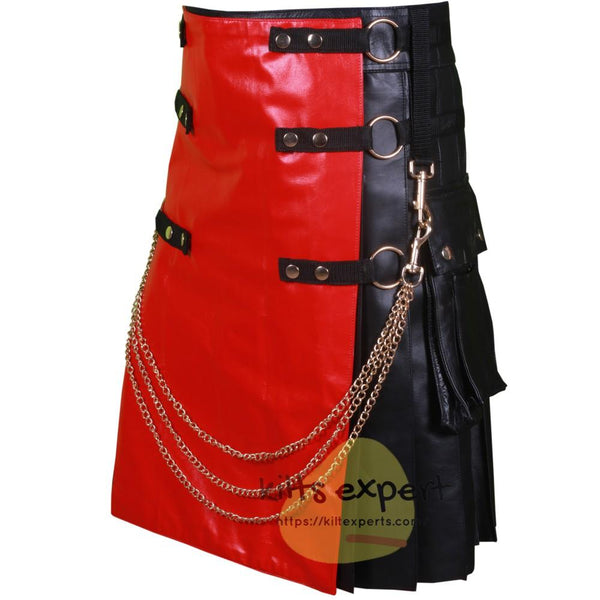 Black Fashion Leather Kilt With Red Apron And Chain - Kilt Experts