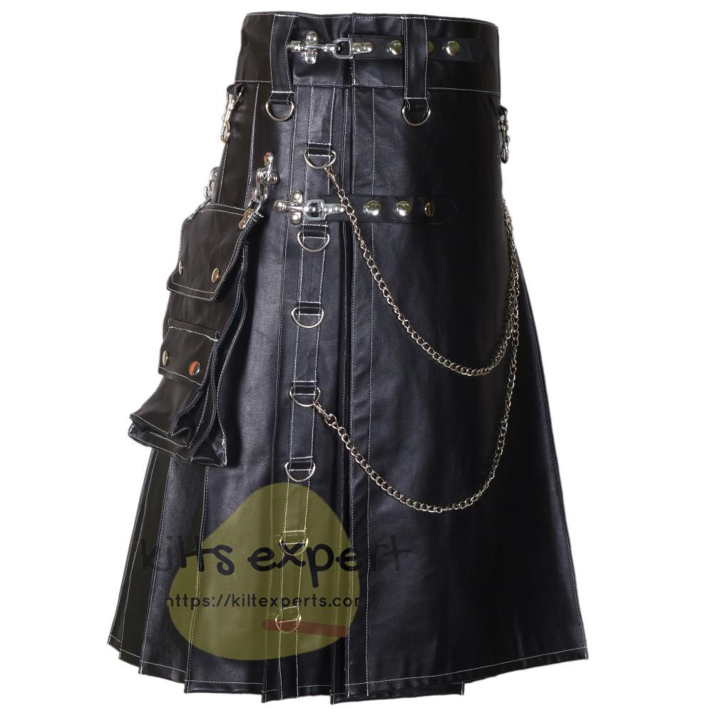 Black Genuine Cowhide Soft Leather Stud Kilt