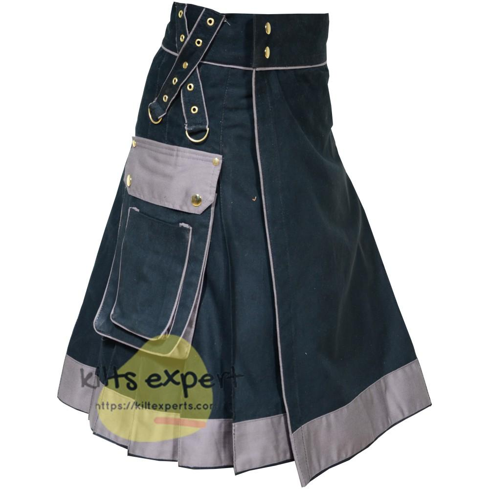 Black & Grey Utility Kilts With Two Large Pockets