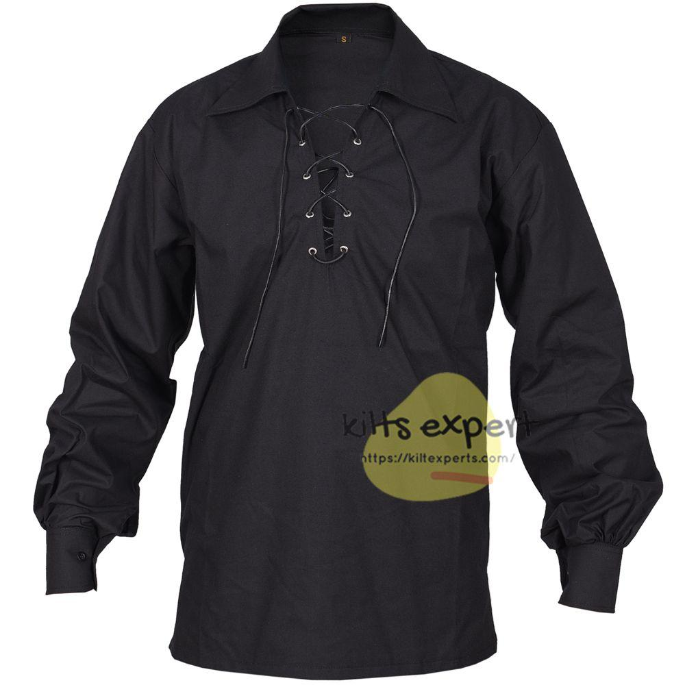 Black Jacobite Gillie Kilt Shirt For Men