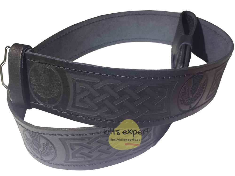 Black Leather Celtic Flower Kilt Belt
