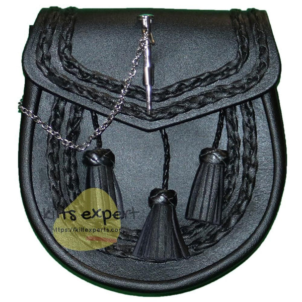 Black Leather Celtic Pin Lock Sporran - Kilt Experts