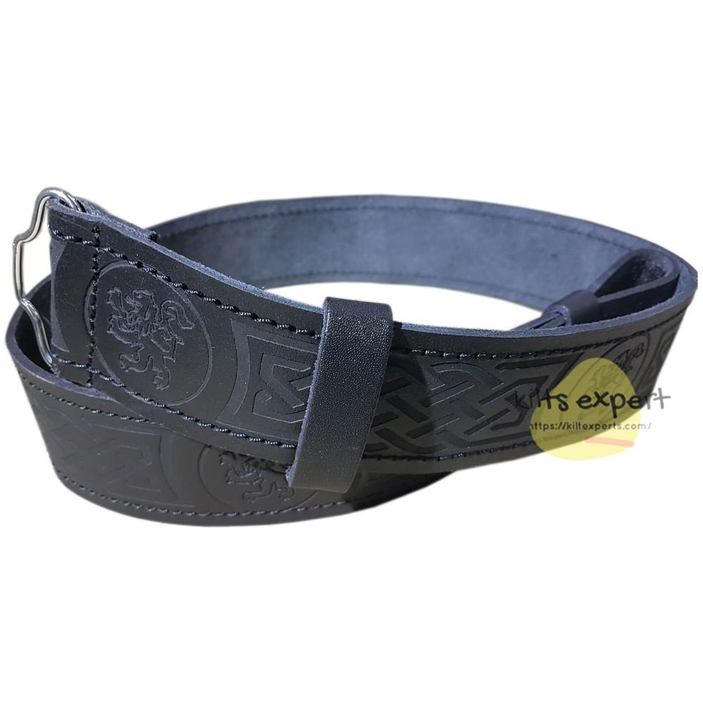 Black Leather Lion Rampant Kilt Belt