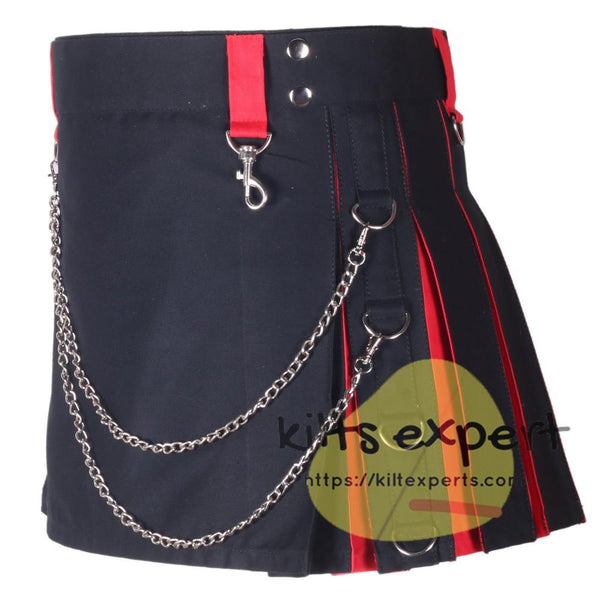 Black & Red Hybird Women's Kilt - Kilt Experts