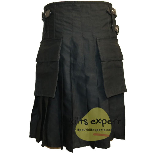 Black Traditional Utility Kilt With Two Pockets - Kilt Experts